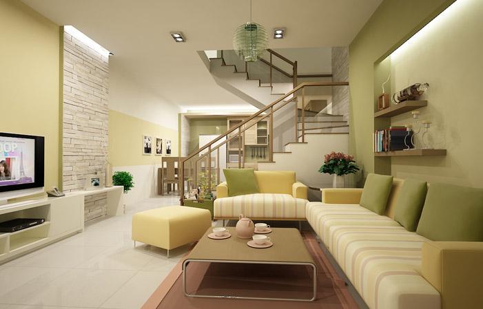 Màu kem sơn Dulux trong nhà kết hợp với màu xanh lá